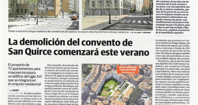 La demolición del Conventro de San Quirce comenzará este verano